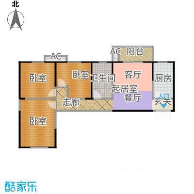紫云溪107.53㎡D1户型3室1厅1卫
