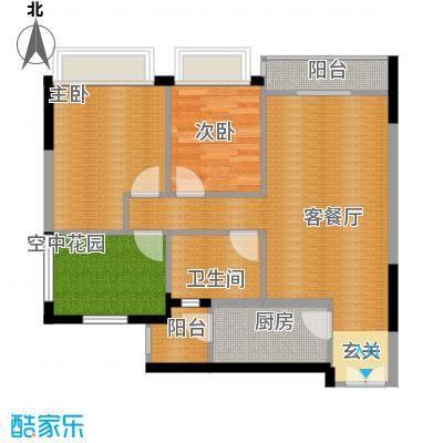 领尚天地76.34㎡户型2室1厅1卫1厨