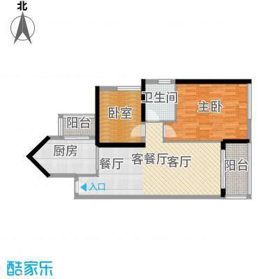 中海橡园国际82.15㎡1栋05单位户型1室1厅1卫1厨