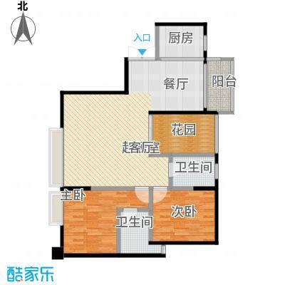 盈拓郦苑89.57㎡5栋1单元2-17层02户型2室2卫1厨