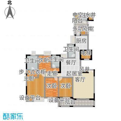 富力唐宁花园A2栋标准层02南朝向户型4室4卫1厨