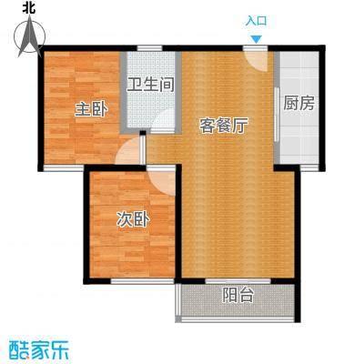 蓝色港湾80.26㎡25号楼E1户型2室2厅1卫