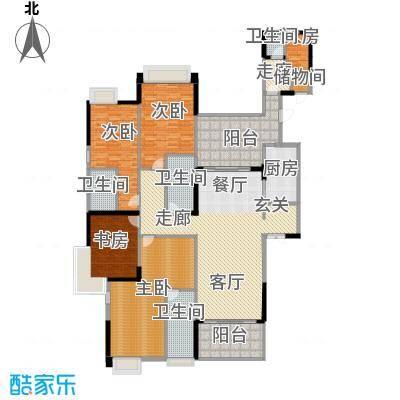 龙泉豪苑二期D3#-5#标准层户型4室1厅4卫1厨