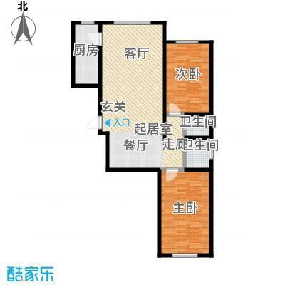 观澜国际104.00㎡K户型二居室户型2室2厅2卫CC