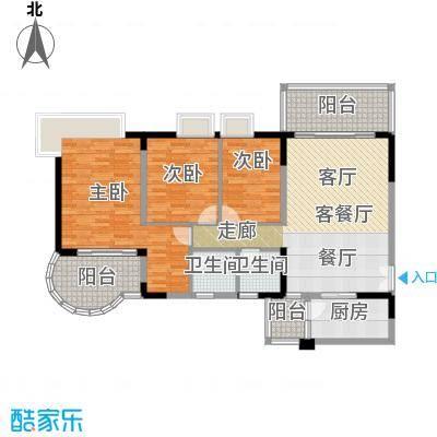翠亨豪园121.93㎡10栋户型3室1厅2卫1厨