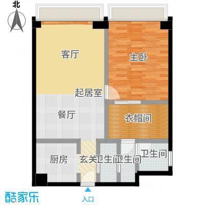 保利世贸公寓66.36㎡酒店式公寓4-44层A户型1室3卫