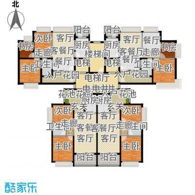 恒大御湖33-36栋2单元标准层示意图户型9室5厅4卫4厨