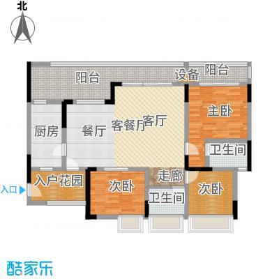 绿城上岛105.57㎡3号楼B-1户型3室2厅3卫 套内105.57㎡户型3室2厅3卫