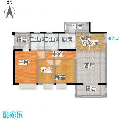 金田花园花域19栋标准层C2户型1室1厅2卫1厨
