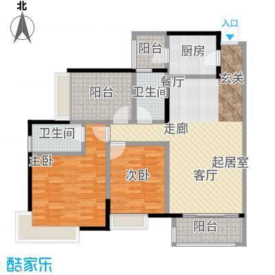 富山居花园99.00㎡15、16栋C户型2室2卫1厨
