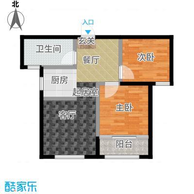 朗庭山67.03㎡C海景丽舍 二室二厅一卫户型2室2厅1卫
