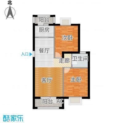 运达诺维溪谷89.00㎡E3户型 小高层 二室二厅一卫户型2室2厅1卫