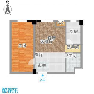 国民院子76.41㎡一室二厅一卫户型1室2厅1卫X