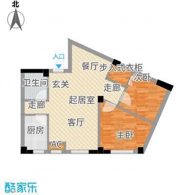 国民院子77.94㎡二室二厅一卫户型2室2厅1卫QQ