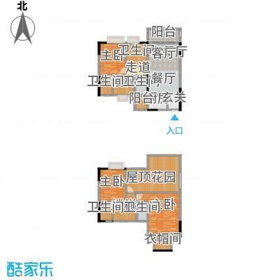 金田花园花域19栋复式F2户型3室1厅5卫1厨