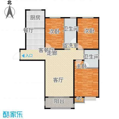 新湖印象江南二期133.00㎡二期B2户型3室2厅2卫