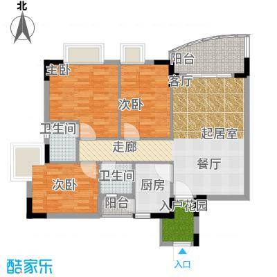 三正世纪豪庭88.53㎡户型3室2卫1厨
