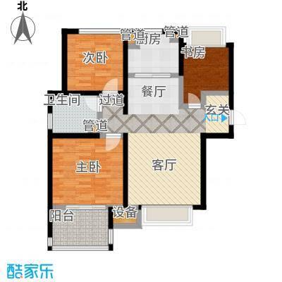 朗诗未来街区85.00㎡朗诗未来街区户型图1.2期C1户型(24/36张)户型3室2厅1卫