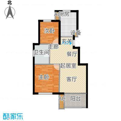 颐泊湾88.00㎡c-1二室二厅户型图户型2室2厅1卫QQ