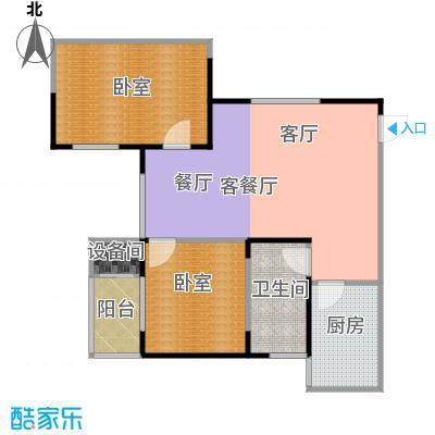 金泰怡景花园82.00㎡B4户型两室两厅一卫户型2室2厅1卫