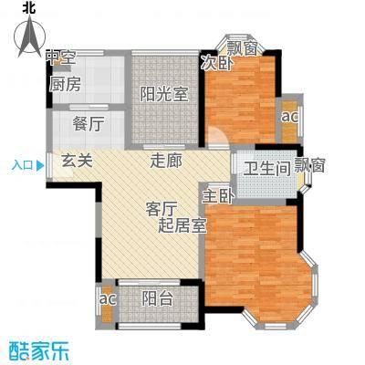 永新秀郡88.00㎡高层标准层c户型2室2厅2卫