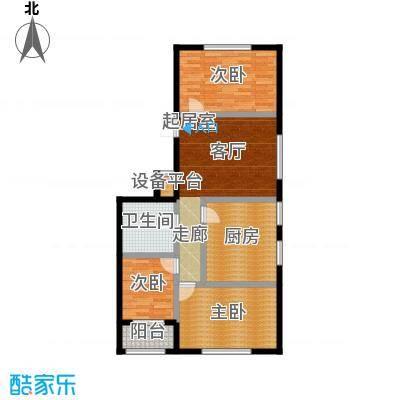 想想大厦114.00㎡H户型-01 三室一厅一卫114平米户型图户型3室2厅1卫