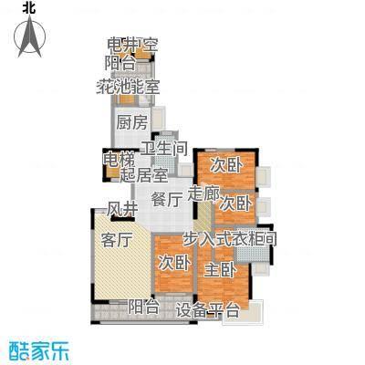 富力唐宁花园A2栋标准层01东南朝向户型4室2卫1厨
