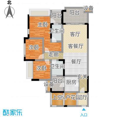 绿城上岛103.08㎡3号楼C户型3室2厅2卫 套内103.08㎡户型3室2厅2卫