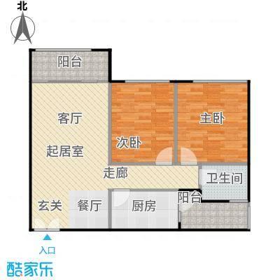 龙城国际81.00㎡龙禧阁03平面图户型2室1卫1厨