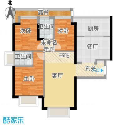 卓越皇后道89.00㎡055-6栋A-B单元B-C单位奇数层户型3室2厅2卫