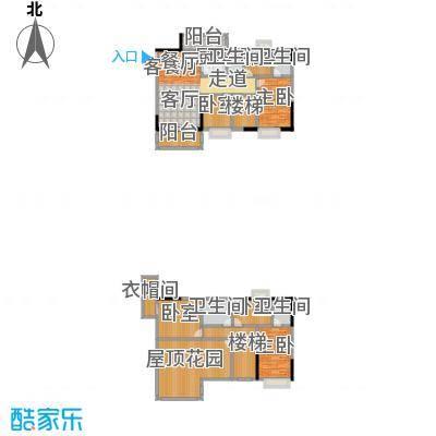 金田花园花域19栋复式G1户型2室1厅4卫1厨
