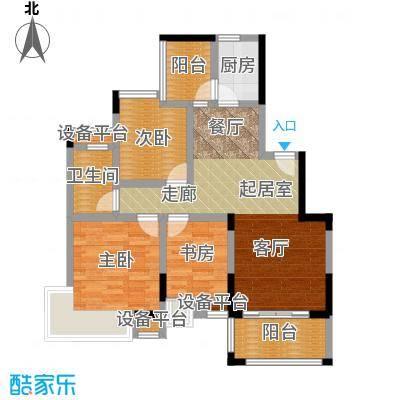 中惠香樟绿洲3期标准层臻品户型3室1卫1厨