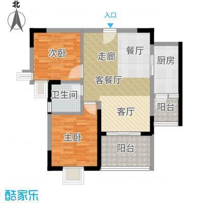 鼎盛中环67.98㎡户型2室1厅1卫1厨