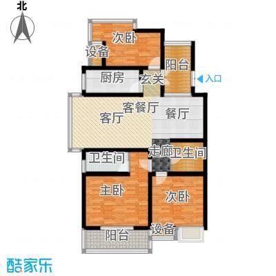 九洲新世界118.57㎡三房二厅二卫户型3室2厅2卫