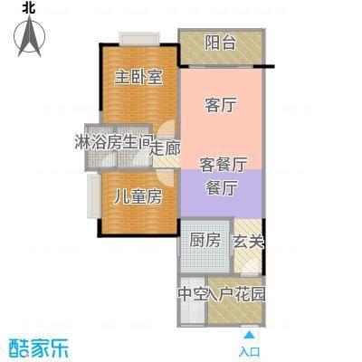 中惠香樟半岛74.00㎡5/6栋-02平面图户型1室1厅1卫1厨