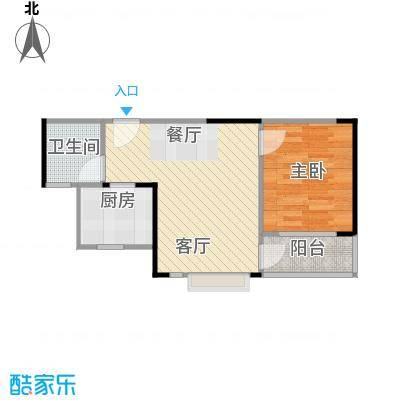 中惠香樟半岛51.00㎡14栋25栋06户型1室2厅1卫