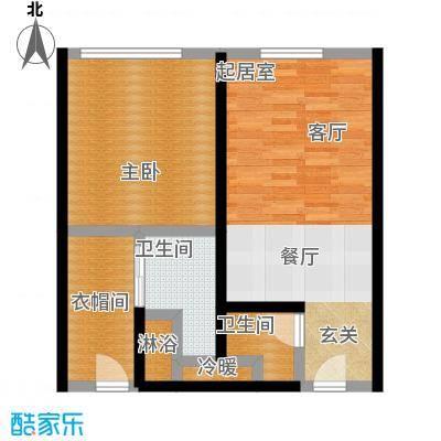 晋合公寓82.00㎡B1户型一室两厅两卫82平米户型1室2厅2卫