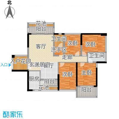 美佳华首誉133.00㎡E座A户型 四房二厅二卫户型4室2厅2卫