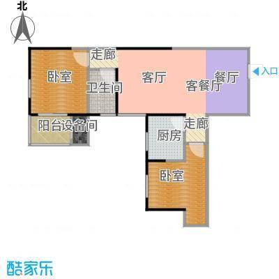金泰怡景花园77.00㎡B3户型两室两厅一卫户型2室2厅1卫