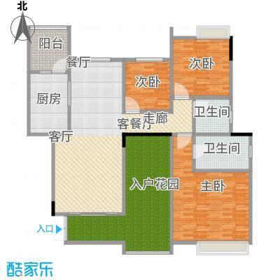 武汉锦绣香江情景洋房标准层户型3室1厅2卫1厨