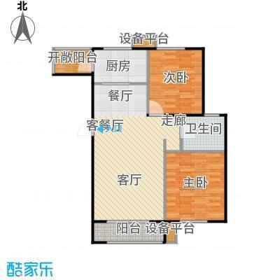 世纪学庭95.55㎡H1户型两室两厅一卫95.55平米户型2室2厅1卫
