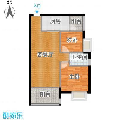 盈拓郦苑71.34㎡7栋1单元2-14层05户型2室2厅1卫