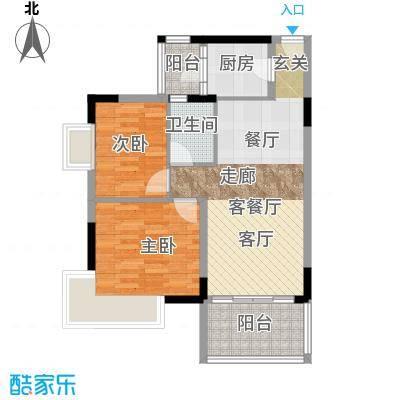 翠亨豪园65.79㎡1、2、3栋户型2室1厅1卫1厨