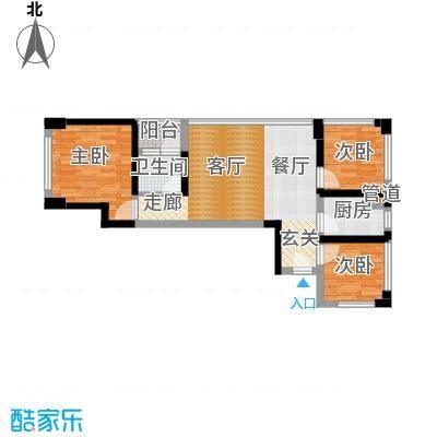 绿景香颂60.00㎡绿景香颂户型图F-G型C座3房2厅1卫60平方米(14/16张)户型3室2厅1卫
