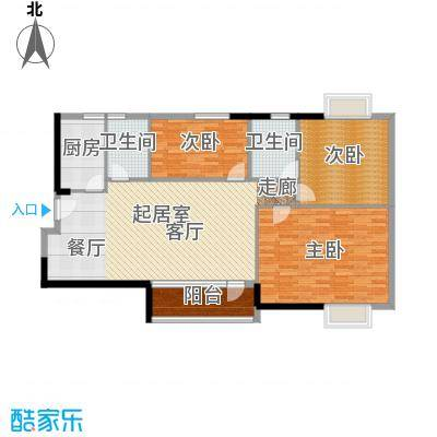 江南美景花园二期122.00㎡01单元-户型3室2卫1厨