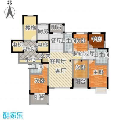 东润枫华186.00㎡园景王座户型5室1厅3卫1厨