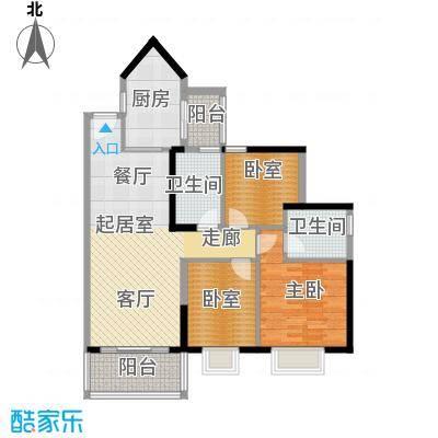中海橡园国际98.30㎡1栋01单位户型1室2卫1厨
