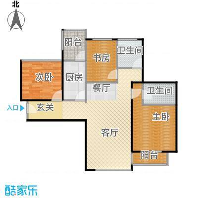 卓越皇后道89.00㎡021栋A-B单元B单位偶数层户型3室2厅2卫