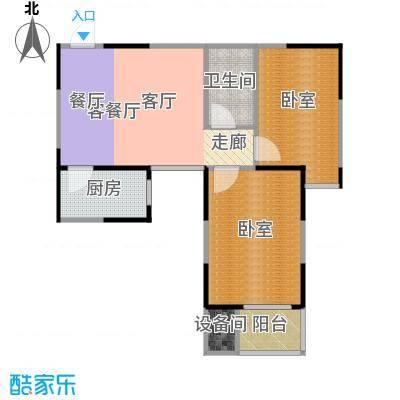 金泰怡景花园75.00㎡B2户型两室两厅一卫户型2室2厅1卫