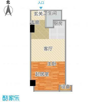 两江国际51.00㎡C户型一室0厅一卫51平米户型1室1卫